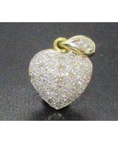 จี้ หัวใจ ฝังเพชรกุหลาบ 36 เม็ด 0.40 กะรัต ทอง90 งานสวย น่ารักมาก นน. 2.55 g