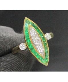 รหัสสินค้า: 47474 แหวน มรกต ทรงมาคีย์ ฝังเพชร 5 เม็ด 0.18 กะรัต ทอง18K หลุดจำนำ นน. 3.66 g