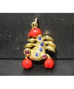 จี้ แมงป่อง ทองลงยา ฝังทับทิม ไพลิน เจียร ทอง90 งานสวย น่ารักมาก นน. 4.93 g