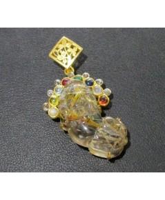 จี้ ปี่เซียะ ไหมทอง แกะสลัก ฝังพลอยนพเก้า เพชรซีกลูกโลก เลี่ยมทอง งานสวย ความหมายดี นน. 10.28 g