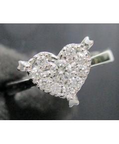 แหวน เพชรกระจุกหัวใจ เพชร 1/0.10 ct ล้อมเพชร 9 เม็ด 0.18 กะรัต ทอง18Kขาว งานสวย น่ารักมาก นน. 3.04 g