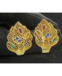 ต่างหู ห่วงพลอย ทับทิม ไพลิน บุษฯ มรกต ฉลุลาย ดอกไม้ ทอง90 งานเก่า หลุดจำนำ สวยมาก นน. 8.93 g