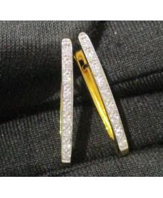 ต่างหู ห่วงเพชรแถว 18 เม็ด 0.16 กะรัต ทอง90 เพชรสวย เล่นไฟ วิ้ง วิ้ง นน. 3.44 g