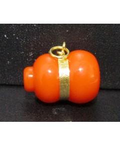 จี้ น้ำเต้า ดูดทรัพย์ หลวงพ่อสด วัดปากน้ำ สีส้ม เลี่ยมทอง ความหมายดี น่าเก็บสะสม นน. 1.80 g