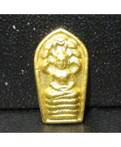 พระนาคปรกใบมะขาม หลังยันต์ นะเศรษฐี เนื้อทองคำ 99.99 สวยน่าสะสม นน. 1.85 g