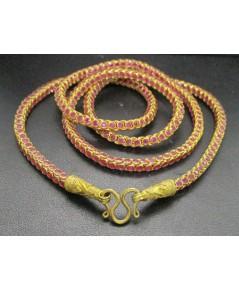สร้อยคอ ทับทิม เจียร ลายกระดูกงู รอบเส้น ทอง18K งานเก่า หลุดจำนำ สวยมาก นน. 32.50 g