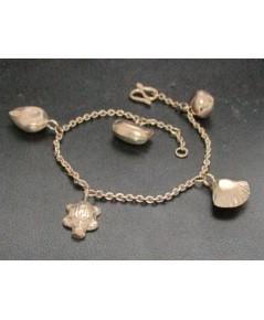 สร้อยข้อมือ นาก40 ลายกระพรวน เต่า หอย ตุ้งติ้ง งานเก่า หลุดจำนำ นน. 7.27 g