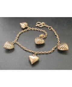 สร้อยข้อมือ หัวใจ ฉลุลาย ตุ้งติ้ง Pink gold ทอง9K งานสวย น่ารักมาก นน. 6.90 g
