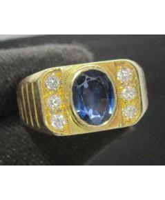 แหวน ไพลิน เจียร ฝังเพชรข้าง 6 เม็ด 0.12 กะรัต ทอง90 งานเก่า หลุดจำนำ สวยมาก นน. 9.88 g