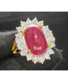 แหวน ทับทิม หลังเบี้ย ล้อมเพชร 18 เม็ด 0.54 ทอง18K หลุดจำนำ งานสวยมาก นน. 10.88 g