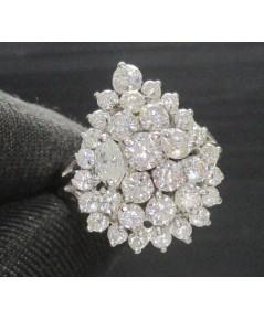 แหวน เพชรทรงหยดน้ำ เพชรมาคีย์ 1/0.15 ct ฝังเพชร 32/1.53  ct ทอง90 งานสวยมาก นน. 6.03 g