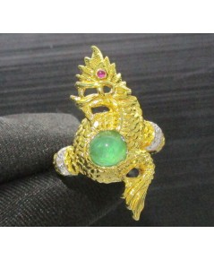 แหวน พญานาค มรกต หลังเบี้ย ฝังเพชร 6 เม็ด 0.06 กะรัต ทอง90 หลุดจำนำ งานสวยมาก นน. 9.38 g