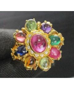 แหวน พลอยนพเก้า ล้อมพลอยขาว ทอง90 หลุดจำนำ งานสวยมาก นน. 7.13 g