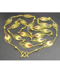 สร้อยคอ ทองลงยา ลายหางนกยูง คั่นเม็ดกลม ทอง90 ทองเก่า งานโบราณ นน. 10.68 g