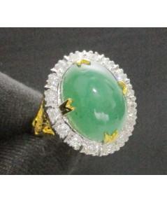 แหวน มรกต หลังเบี้ย ล้อมเพชร 16 เม็ด 0.64 กะรัต ทอง90 งานเก่า สวยมาก นน. 6.92 g