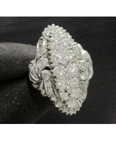 แหวน เพชร ทรงมาคีย์ 12/1.00 ct ล้อมเพชรกุหลาบ 40/0.40 ct ทองK 2 สี งานเก่า หลุดจำนำ นน. 7.98 g