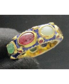 แหวน พิรอด นพเก้า ลงยาสีน้ำเงิน ฝังทับทิม รอบวง ทอง90 แบบงานโบราณ สวยมาก นน. 9.80 g