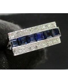 แหวน ไพลิน Princess ฝังเพชรกุหลาบ 2 แถว 16 เม็ด 0.16 กะรัต งานทองขาวโบราณ(ปาหะ) นน. 3.86 g