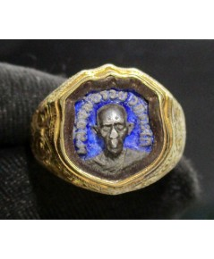 แหวน หลวงพ่อรวย วัดตะโก อยุธยา เนื้อเงิน ลงยาสีน้ำเงิน ทอง95 สวยน่าสะสม นน. 9.99 g