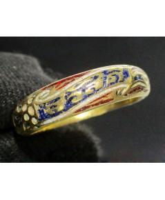 แหวน ทองลงยา สวัสดี ทอง90 งานเก่า หลุดจำนำ สวยมาก นน. 4.04 g
