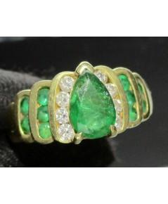 แหวน มรกต โคลัมเบีย ทรงหยดน้ำ 1.50 กะรัต ฝังเพชรข้าง 8 เม็ด 0.24 กะรัต ทอง90 งานสวยมาก นน. 5.91 g