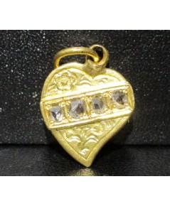 จี้ หัวใจ ฝังเพชรซีก 4 เม็ด ทอง90 งานเก่า หลุดจำนำ สวยมาก นน. 2.68 g