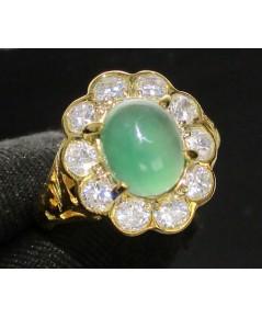 แหวน หยก หลังเบี้ย ล้อมพลอยขาว ทอง90 งานสวย น่ารักมาก นน. 5.98 g