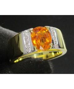 แหวน บุษราคัม เจียร ฝังเพชร 10 เม็ด 0.15 กะรัต ทอง18K หลุดจำนำ งานสวยมาก นน. 12.98 g