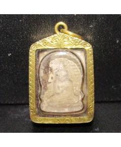 พระผงของขวัญ วัดปากน้ำ เนื้อผง เลี่ยมทองเก่า ปิดหลัง นน. 7.54 g