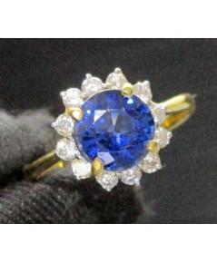 แหวน ไพลิน เจียร ล้อมพลอยขาว ทอง90 งานสวย น่ารักมาก นน. 3.64 g