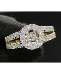 แหวน เพชรกระจุกกลม เพชร 33 เม็ด 0.53 กะรัต ทอง90 เพชรสวย เล่นไฟ วิ้ง วิ้ง นน. 2.70 g