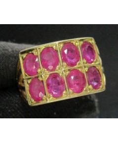 แหวน ทับทิม เจียร 2 แถว 8 เม็ด ทอง90 งานเก่า หลุดจำนำ สวยมาก นน. 6.48 g