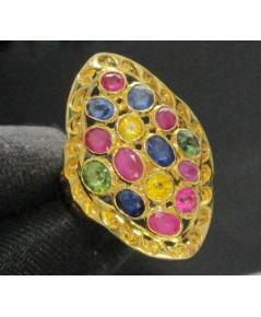 แหวน พลอยหลากสี ทรงมาคีย์ ทอง90 งานเก่า หลุดจำนำ สวยมาก นน. 7.14 g