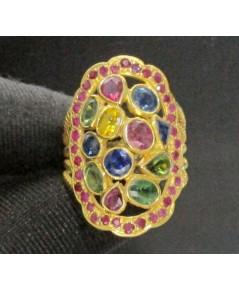 แหวน พลอยหลากสี หน้าโล่ห์ ล้อมทับทิม ทอง90 งานเก่า หลุดจำนำ สวยมาก นน. 7.78 g