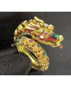 แหวน พญานาค ทองลงยา 3 สี ฝังทับทิม มรกต เพชรซีก รอบวง ทอง90 แบบงานโบราณ สวยมาก นน. 15.42 g