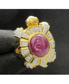 แหวน เต่า วัดปริวาส ทับทิม หลังเบี้ย ฝังเพชรเกสร 36 เม็ด 0.30 กะรัต ทอง90 สวยน่าสะสม นน. 12.80 g