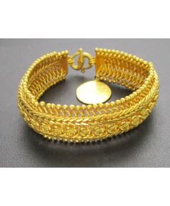 สร้อยข้อมือ ทอง100 ถักสาน ลายตะขาบ เหรียญกลม ตุ้งติ้ง ทองเก่า งานโบราณ หายาก นน. 75.74 g