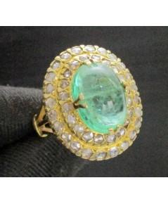 แหวน มรกต หลังเบี้ย เนื้อแก้ว ล้อมเพชรซีกลูกโลก 2 ชั้น ทอง18K หลุดจำนำ งานสวยมาก นน. 7.60 g