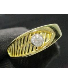แหวน เพชรเดี่ยว ฉลุลาย 1 เม็ด 0.20 กะรัต ทอง18K หลุดจำนำ งานสวยมาก นน. 5.10 g