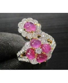 แหวน ทับทิม หลังเบี้ย กระจุกดอกไม้ ล้อมเพชร 31 เม็ด 0.77 ทอง90 เพชรขาว พลอยสวยมาก นน. 6.00 g