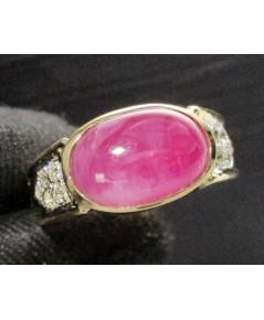 แหวน ทับทิม กิมบ่เซี่ยง ฝังเพชรข้าง 10 เม็ด 0.20 กะรัต ทอง90 งานเก่า หลุดจำนำ สวยมาก นน. 7.62 g