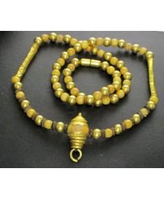 สร้อยคอ ขุน งา เม็ดประคำ คั่นเม็ดทอง รอบเส้น ทอง90 งานเก่า หลุดจำนำ สวยมาก นน. 31.97 g