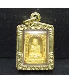 พระสมเด็จพุฒาจารย์โต หลังพระสมเด็จวัดระฆัง เนื้อทองคำ เลี่ยมทองเก่า นน. 11.94 g