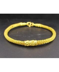 กำไล ข้อมือ ทอง99.99 ลายถักสาน คั่นทอง ตอกลาย ดอกไม้ ทองเก่า งานโบราณ สวยมาก นน. 15.22 g