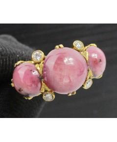 แหวน ทับทิมพม่า หลังเบี้ย 3 เม็ด 5 กะรัต ฝังเพชรกุหลาบ 4 เม็ด 0.12 กะรัต งานทองK หลุดจำนำ นน. 5.56 g