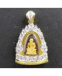 พระหลวงปู่ทวด เนื้อทองคำ กรอบทอง ฝังเพชร 29 เม็ด 0.55 กะรัต นน. 7.88 g