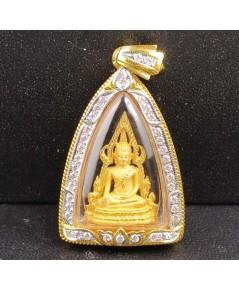 พระพุทธชินราช เนื้อทองคำ กรอบทอง ฝังเพชร 38 เม็ด 0.70 กะรัต นน. 10.60 g