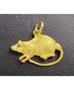 จี้ หนูทอง (ปีชวด) ตาฝังพลอย ทอง90 งานเก่า สวยน่าสะสม นน. 2.82 g