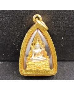 พระพุทธชินราช เนื้อเงิน 3 กษัตริย์ เลี่ยมทองเก่า นน. 9.16 g