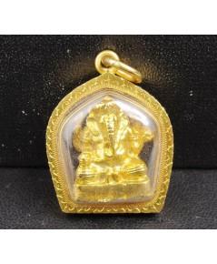 พระพิฆเนศ ลอยองค์ กะไหล่ทอง เลี่ยมทองเก่า นน. 11.78 g